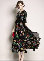 2019 Summer Vintage chiffon Dresses For Women High Quality Floral Print Dress black Butterfly sleeve Dress Runway Robe Femme