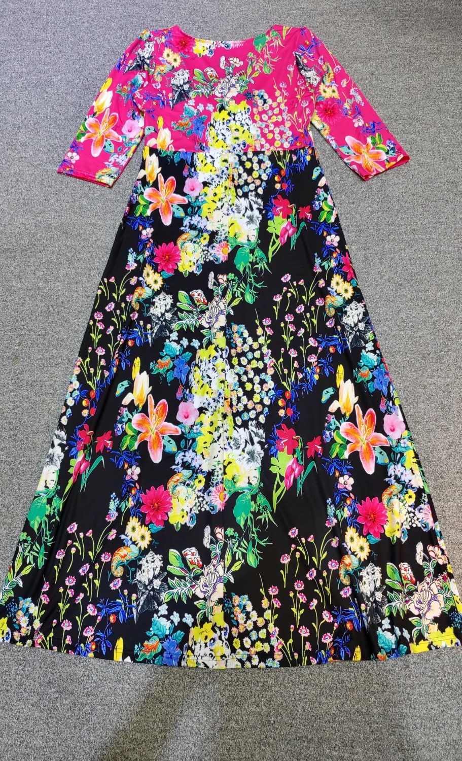 Robe Longue Femmes Col Nouvelle Jersey De Manches Superbe Élastique V Imprimé Arrivée 1207ep733c Demi 2018 CCgw4vq