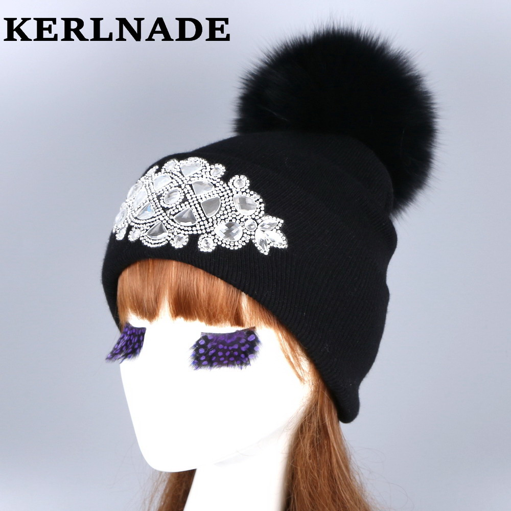 mink and fox fur ball cap pom poms winter hat for women girl 's wool hat knitted cotton beanies cap brand new thick female hats mink and fox fur ball cap pom poms winter hat for women girls wool hats knitted cotton beanies skullies caps thicken female hats