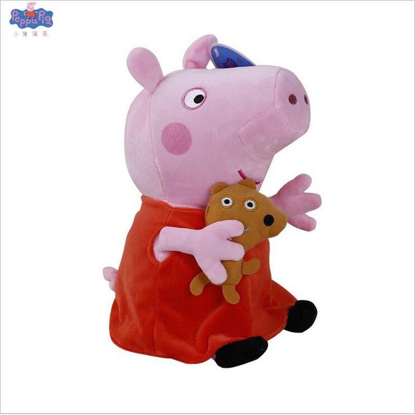Свинка Пеппа Джордж Пейдж и кошелек плюшевые несколько стилей куклы Мягкие плюшевые мультфильм Свинья семья животных мальчики девочки игрушки - Цвет: 25cm Peppa