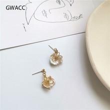 GWACC 2019 Creative Design Flowers Drop Earrings For Women Girls Natural Pearls INS Korean Trendy Brass Flower Fashion Jewelry