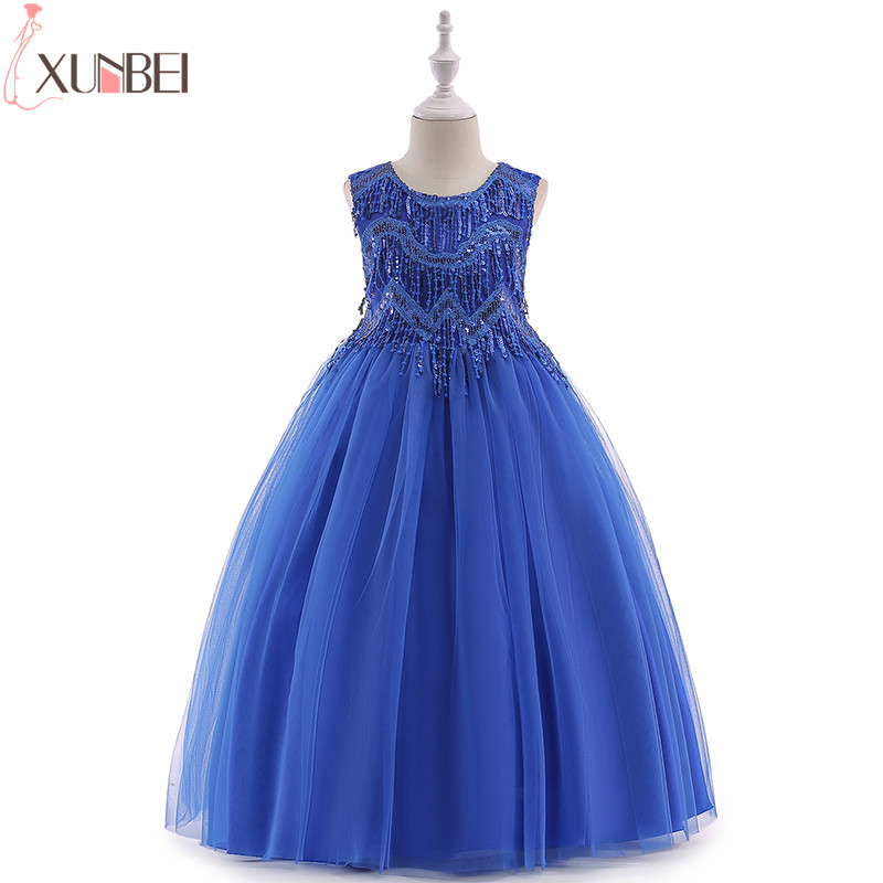 4 Colors Flower Girl Dresses Sequined 2019 Tulle Appliqued Pageant Dresses For Girls First Communion Dresses Kids Prom Dresses