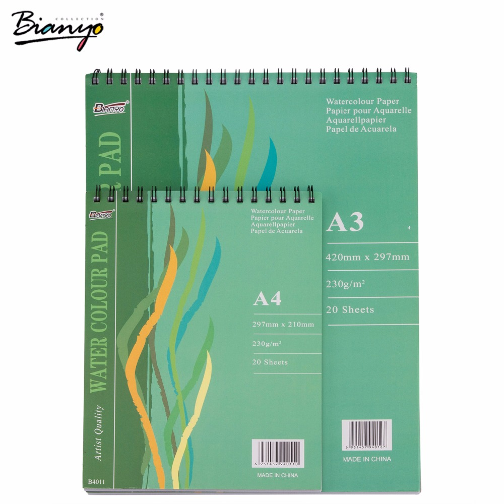 Bianyo Notebook A3/A4 Sketchbook Artist Watercolor Pad Paper Diary Painting Stationery Office Drawing Marker Spiral Sketchbook 10pcs carbide inserts wrench with s12m sclcr09 scmcn sclcr sclcl1212h09 tool holder for lathe turning tool