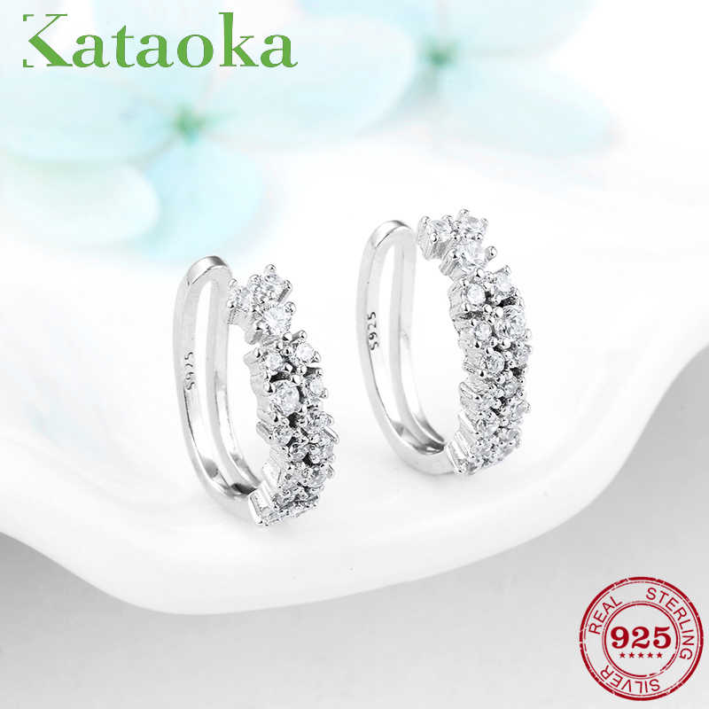 100% 925 Sterling Silver Sparkling Round clip Earrings With Clear CZ Jewelry for women fashion Ear clip Brincos 2018