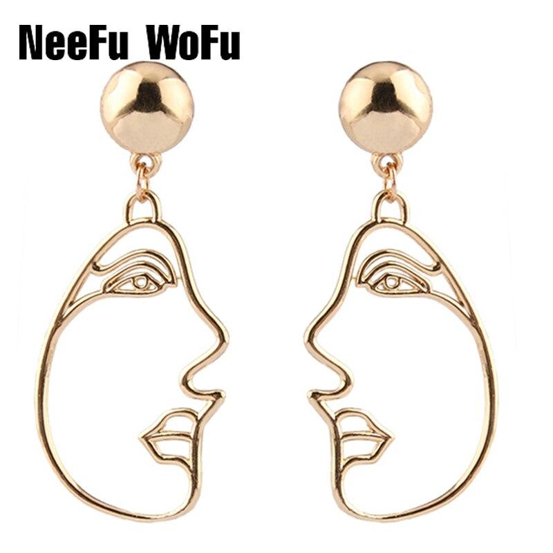 Drop Earrings Dangle Personalit Aretes De Mujer Human Smiling Face Expression Metal Pendientes Long Stick Brincos Big Ear Drops