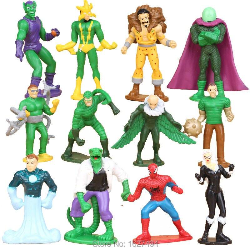 12pcs Marvel Comics Spiderman 3 <font><b>Green</b></font> <font><b>Goblin</b></font> PVC Action Figures <font><b>Spider-man</b></font> Villain Anime Figures Figurines Kids Toys For Boys