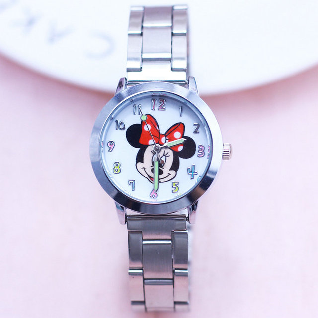 2018 Fashion Cartoon Minnie Women Watches Luxury High Quality Stainless Steel Wr