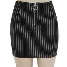 Black and White Striped Slim Sexy Front Zip Skirt Fashion Office Skirts Women недорого