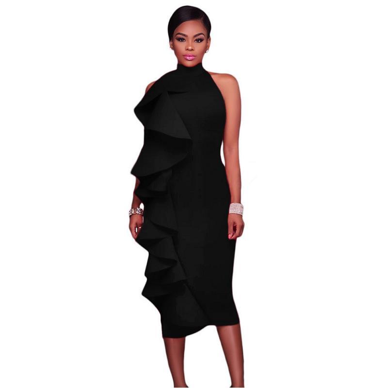 ADEWEL 2017 Women Big Ruffles Midi Elegant Dress Sexy Open Back Bodycon Party Dress High Neck Vintage Pencil Dress 16