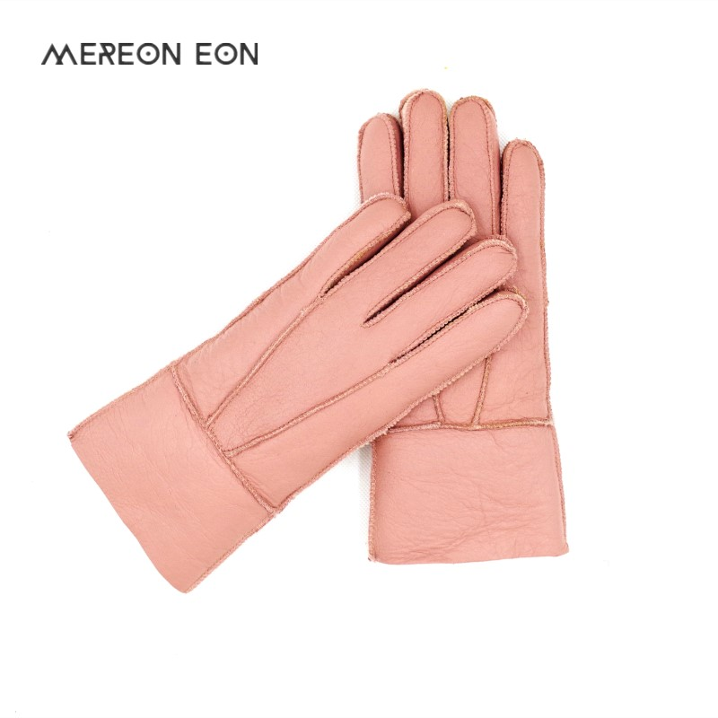 2019 Multi Color Heavy Type Women Real Leather Wool Fur Gloves Lovely Girls Sheepskin Leather Fur Gloves Very Warming