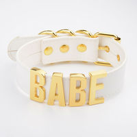 Handmade Personalised Name Choker BABE Big Letter Gold Silver Collar Necklace For Women Girls White Clear