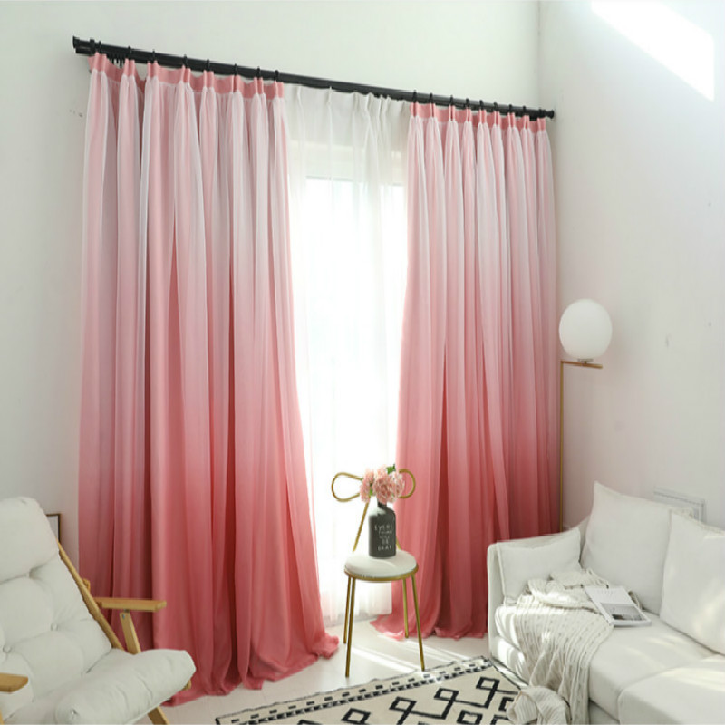 US $27.59 27% OFF|High shading gradient blue green pink orange yellow color  Cloth Curtain+Voile Sheer Blackout Fabric Bedroom Custom Living Window-in  ...