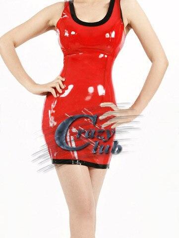 Crazy club_Latex robe décontracté Latex vêtements Sexy Latex caoutchouc femmes robe rouge Slim tenue de club robes de fête vente en ligne