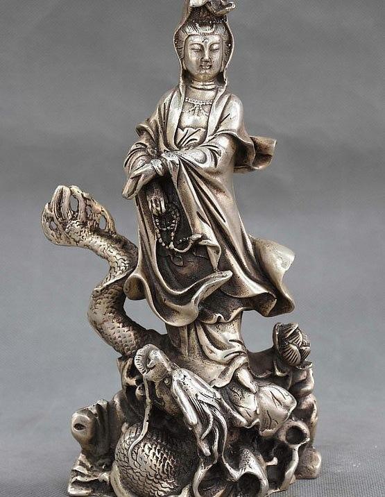 9 Cina Buddismo fane Argento Stand Drago GuanYin Kwan-yin Goddess Statue di Buddha9 Cina Buddismo fane Argento Stand Drago GuanYin Kwan-yin Goddess Statue di Buddha