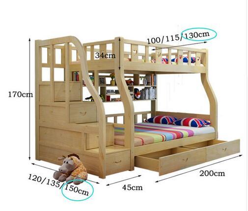Webetop cama doble cama litera para ni os de madera maciza - Literas infantiles de madera ...