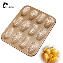 FHEAL 3D Sea Shell 12 Holes Cake Moulds Metal Madeleine Cake Moulds for Baking Wedding Party Kitchen Cake Tools(China)