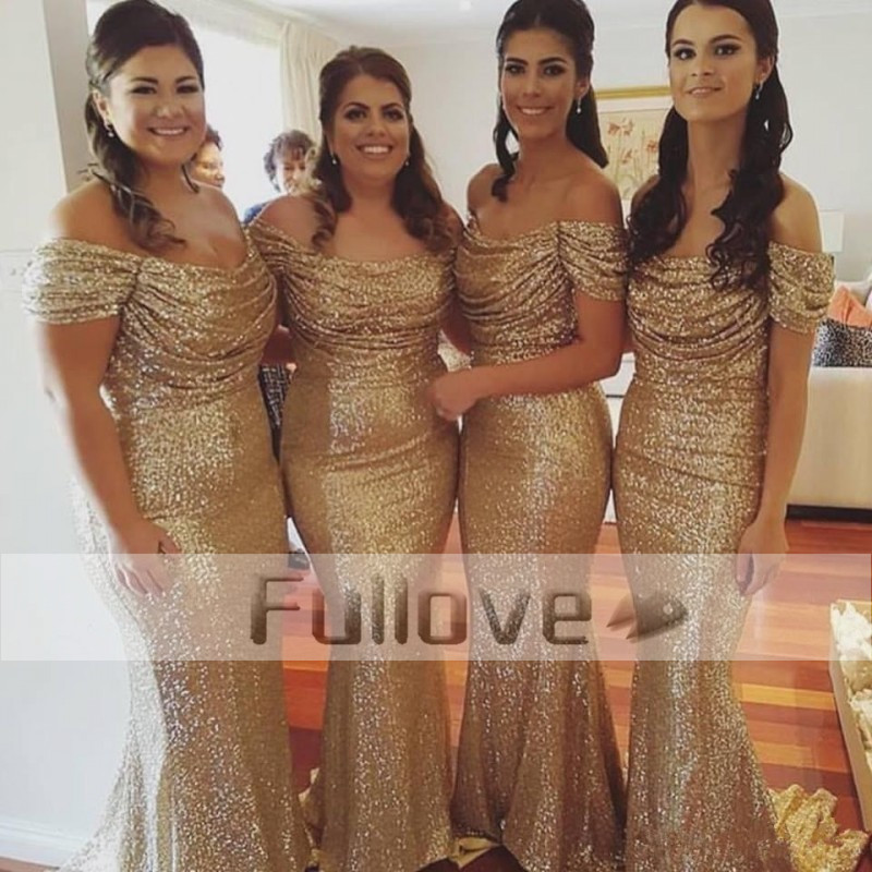 Fashion Champagne Sequin Tiered   Bridesmaid     Dresses   Long 2017 Boat Neck Cap Sleeve Wedding Party   Dress   Vestidos Robe De Soiree