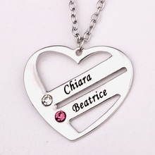 Love Pendant Heart Necklace with Birthstones New Arrival Personality Long Necklaces YP2482