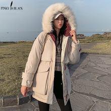 PinkyIsBlack 2019 Winter Coat Thickened Parka Women Windproof Fur Hooded Long Ladies Down Cotton Jacket