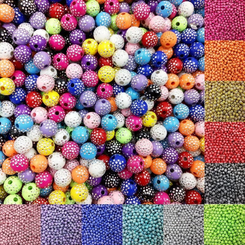 LNRRABC Sale 100 piece lot 8mm Bright Shiny Round Acrylic Loose Spacer DIY Beads For Jewelry Findings Jewelry making Bracelet