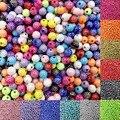 Venta 100 unid/lote 8mm Brillante Brillante de Acrílico Redondo Flojo Espaciador de Los Granos Para La Joyería de DIY Hallazgos fabricación de La Joyería de la Pulsera Del Collar