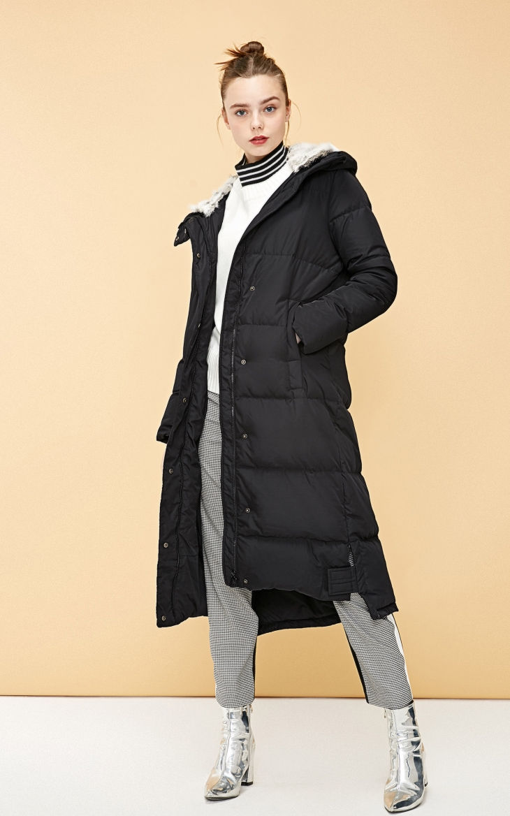 Vero Moda new detachable rabbit fur hooded long down jacket women   318312503 18