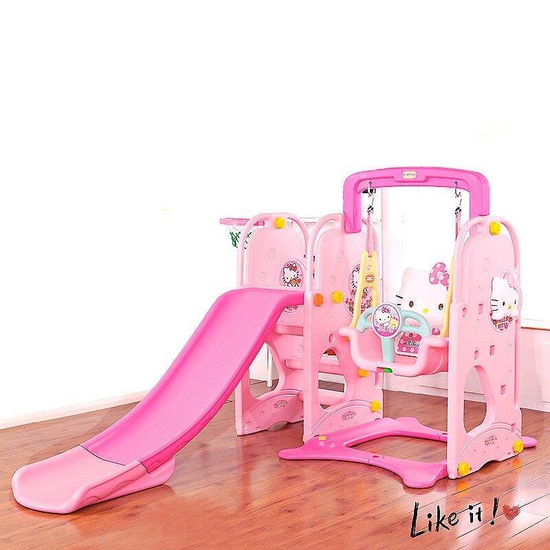 Glissière qui respecte l'environnement d'intérieur avec la sécurité accrochant la glissière d'oscillation de chaise a combiné le terrain de jeu en plastique Stable pour des cadeaux d'enfants