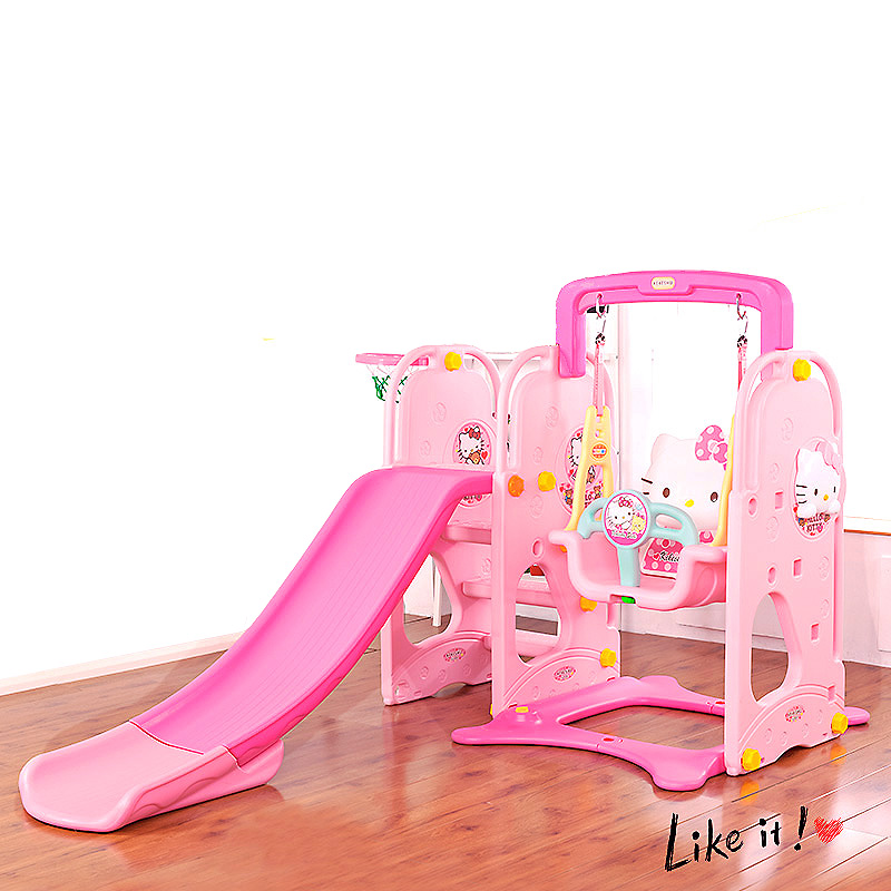 Indoor Eco-friendly Slider with Safety Hanging Chair Swing Slide Combined Stable Plastic Playground For Children Gifts ...