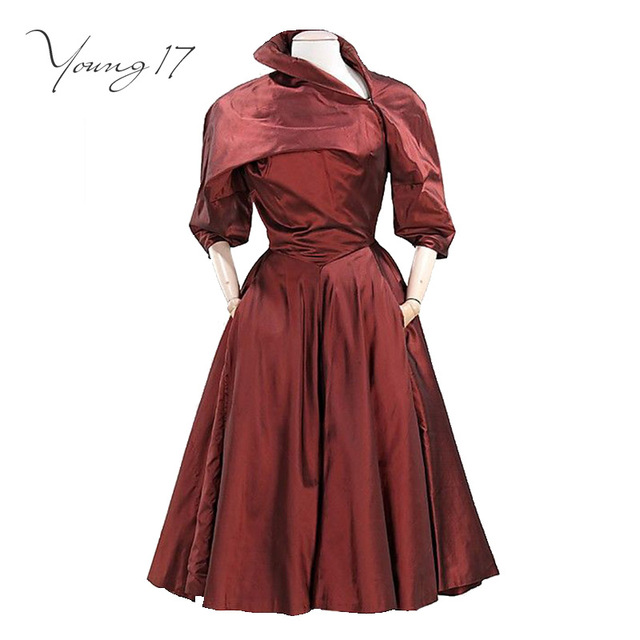 Young17 Vintage Dress 1950s 2017 new solid burgundy a line dress oblique collar lantern ruffles women party vintage dresses
