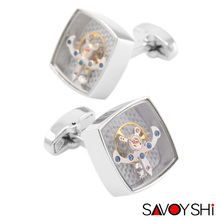 SAVOYSHI Classic Fashion Tourbillon Cufflinks for Mens Shirt Cuff Steampunk Watch Movement Cufflinks High Quality Brand Jewelry