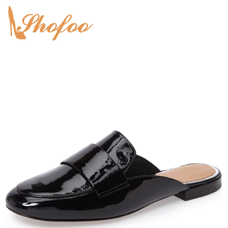 Black Brown Round Toe Shallow Flat Mules Woman Large Size 11 12 For Ladies Summer Beach Footwear Shoes Fashion Holidays Dress
