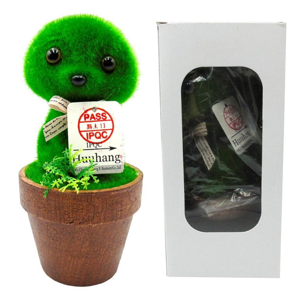 Simulering plante grøn holcus lanatus dyr mini bonsai Håndværk flocking Ikke visner Træ blomsterpotte hvalp hund Bryllup + B + Q