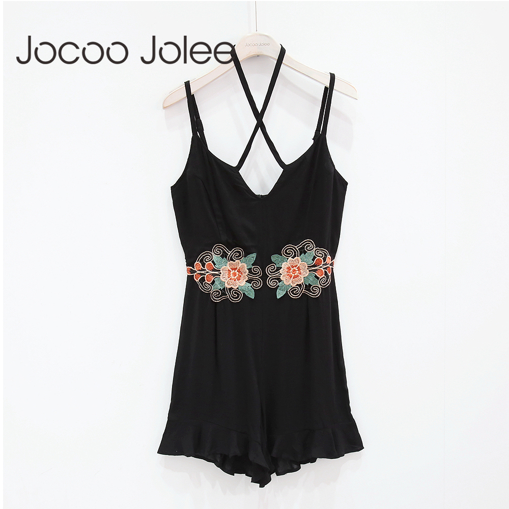 Jocoo Jolee Summer Embroidery Rompers Ruffle Women Jumpsuit Sexy Hanging Neck Ladies Jumpsuit Beach Female Body Romper Playsuit