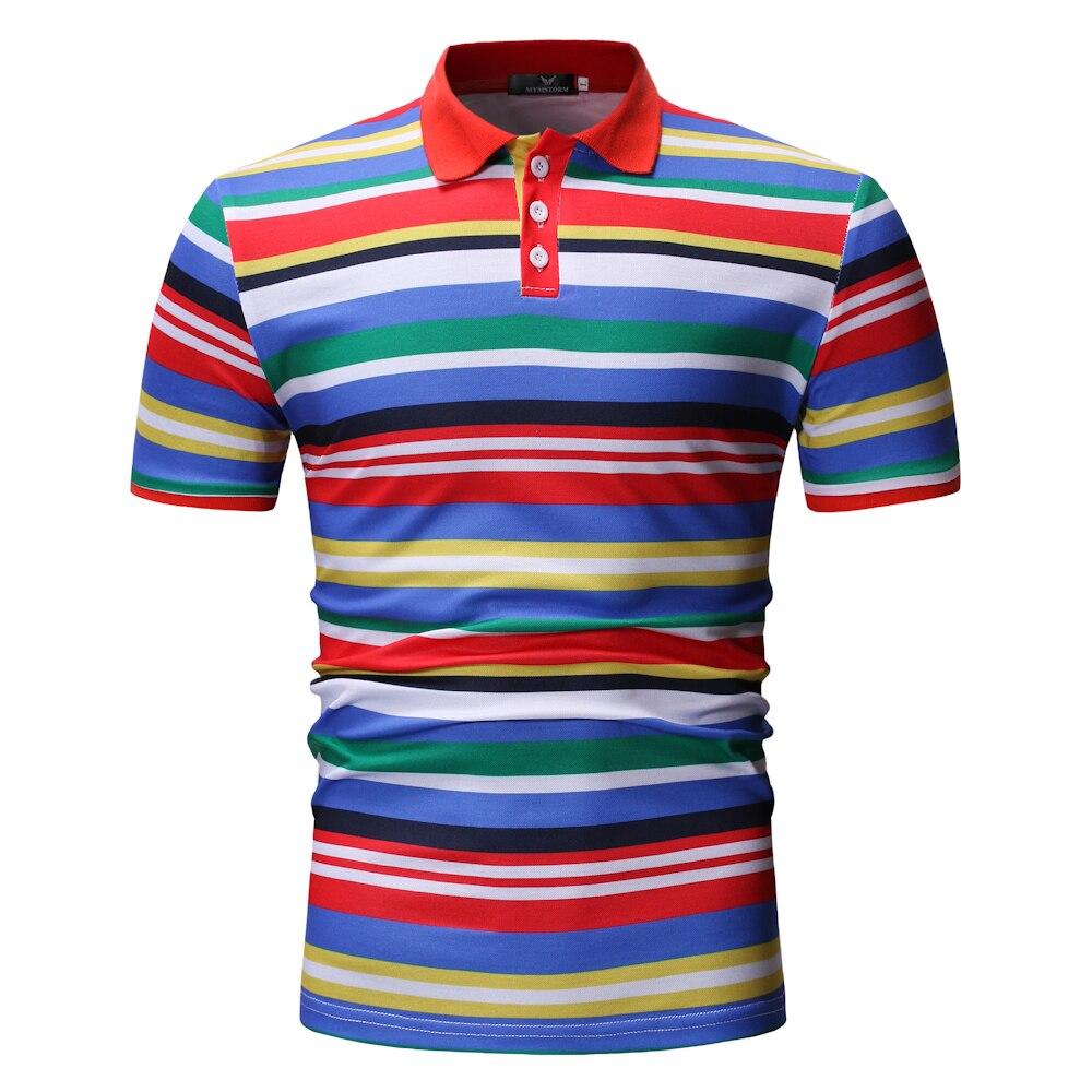 Men   Polo   Shirt 2019 Summer Men Business Casual Breathable Colour Striped Short Sleeve   Polo   Shirt Turn-Down Collar Clothes   Polos