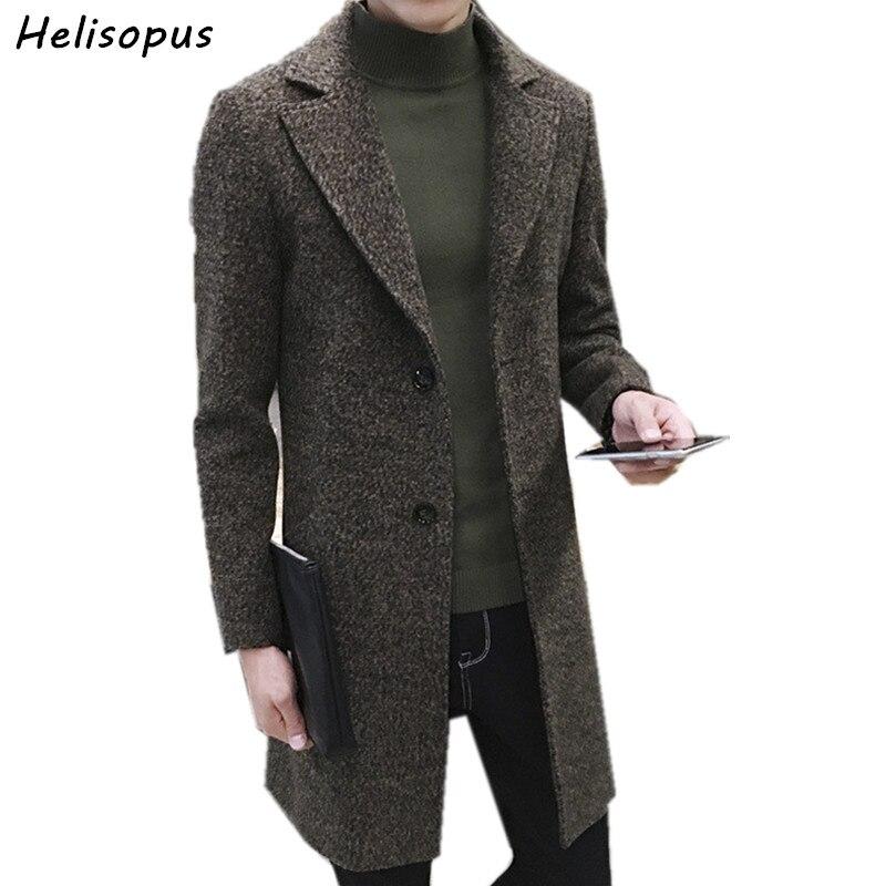 Helisopus Men's Thick Wool Trench Coat Men Long Casual Coats Lapel Collar 2019 Autumn Winter Slim Overcoat Plus Size M-5XL