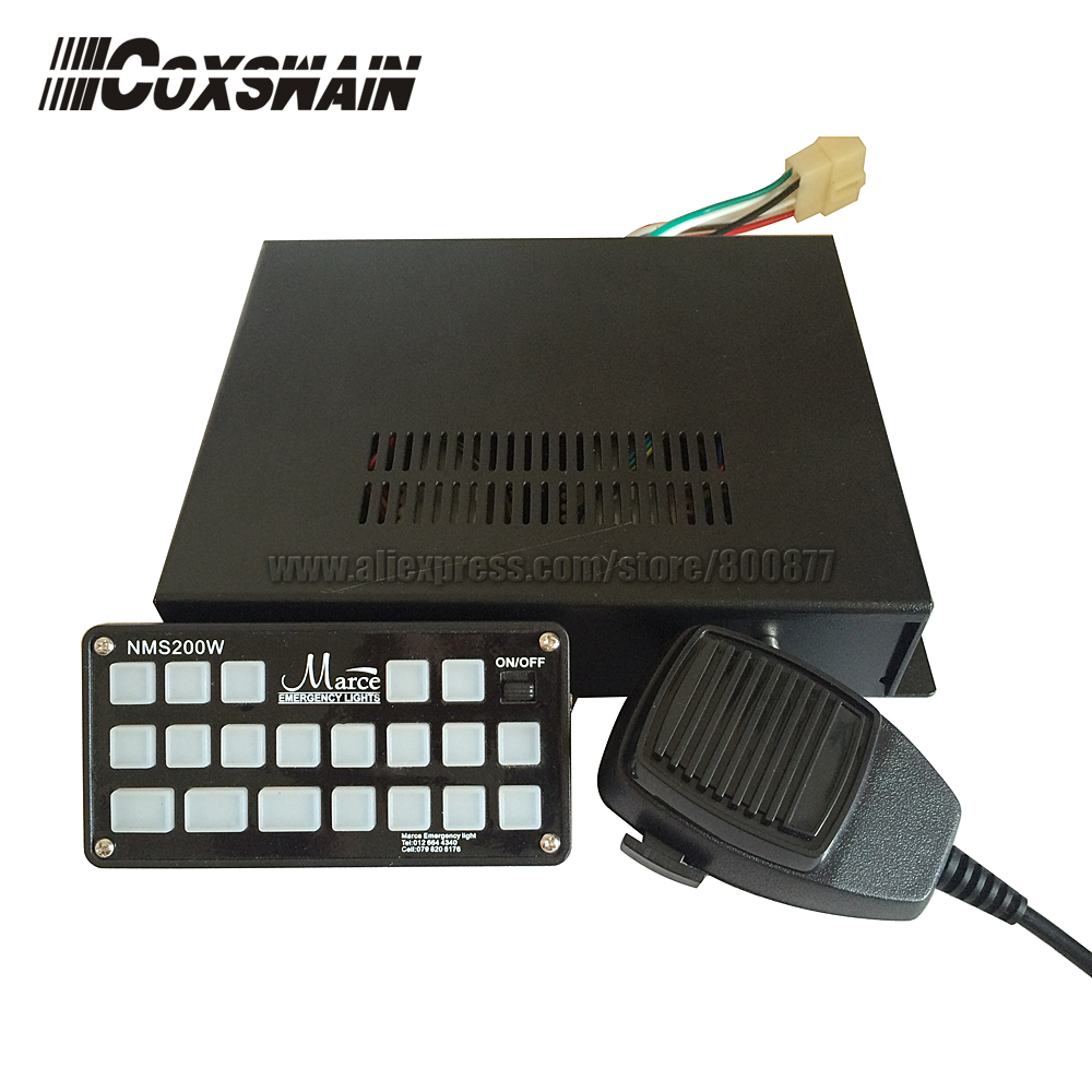 Car Electronic Police Siren With Memory Function, 7 Light Switches 400W Car Amplifier PA System, 6 Tones ( Siren + 2 Speaker)