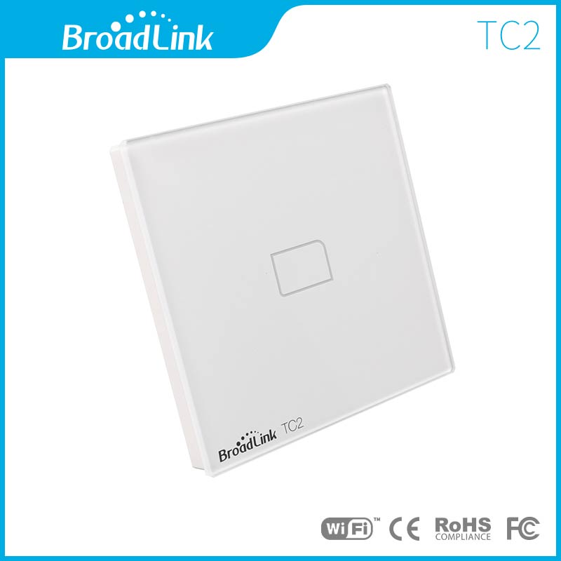 EU UK Standard Broadlink TC2 1 Gang Smart Remote Control Touch Wall Light Switch Tempered Glass Home Automation