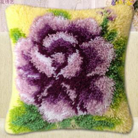 Carpet Embroidered Pillow Paragraphs Wool Crochet Hook Embroidery Cross Stitch Pillows Elegant Purple Rhyme