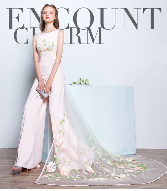 Lovly Pink Stretch Chiffon Jumpsuit Dress With Cape Bridal Pant