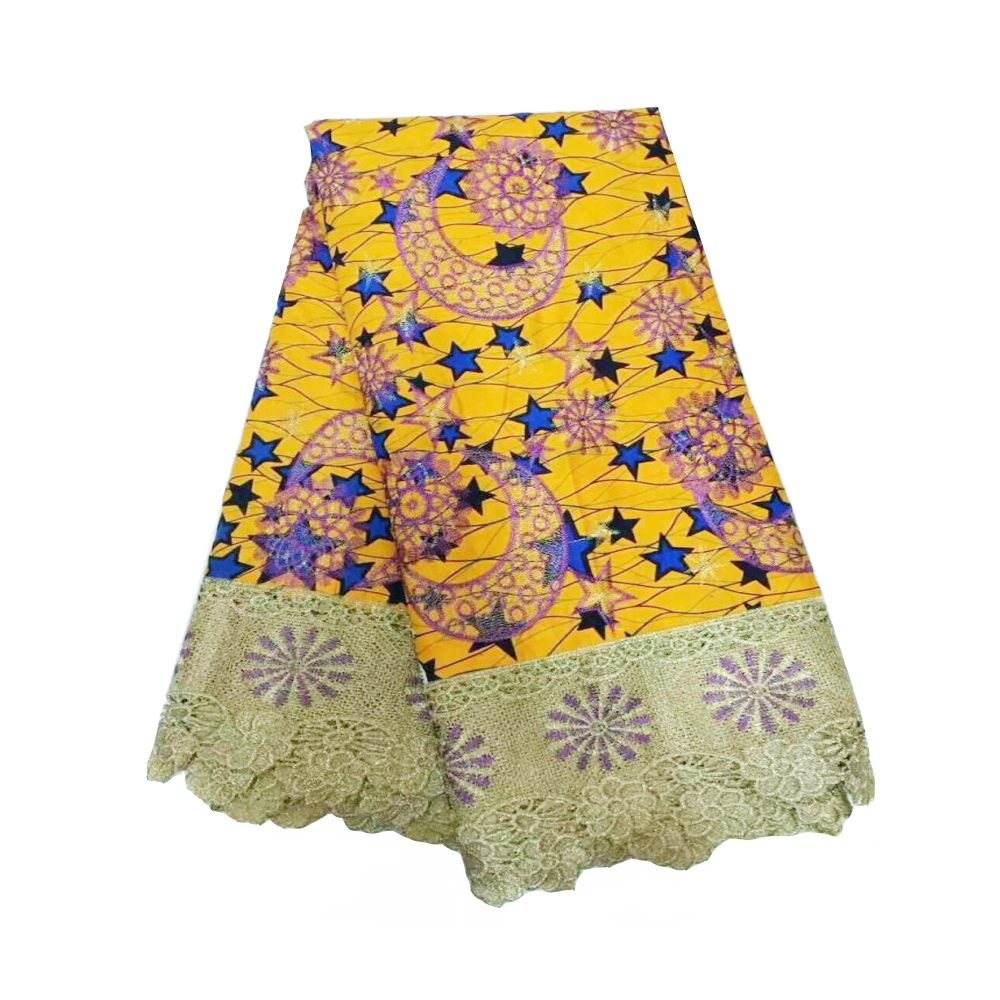 Yellow Guaranteed Super JAVA Block Printed African Wax Fabrics Pagne Super Wax Hollandais Lace Wax Embroidery Cotton 6 Yards