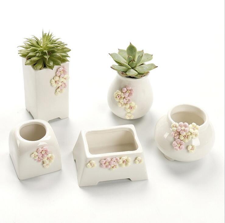 TECHOME Creativity Plants Pot Simple White Ceramics Succulents Flower Pot Home Office Decoration