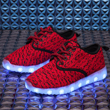 2017 Low Top Lightweight Mesh USB LED Light Kid Casual Shoes Girls And Boys Breathable Colorful
