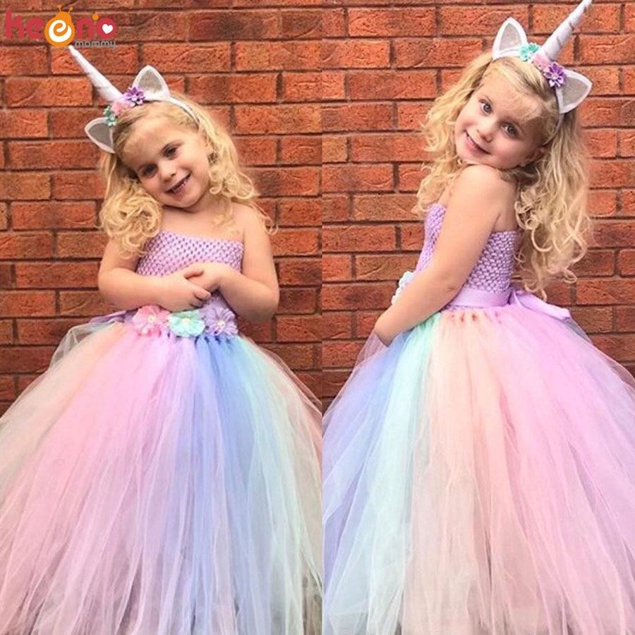 Unicorn Rainbow Flower Dress Meninas com Cabelo Aro Menina Tornozelo Comprimento vestido de Baile para a Festa de Aniversário de Casamento Crianças Foto Props
