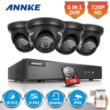 ANNKE 8CH 1080P HDMI Output CCTV Security System DVR 1TB HDD and 4pcs 720P 1500TVL Outdoor Weatherproof Surveillance Cameras