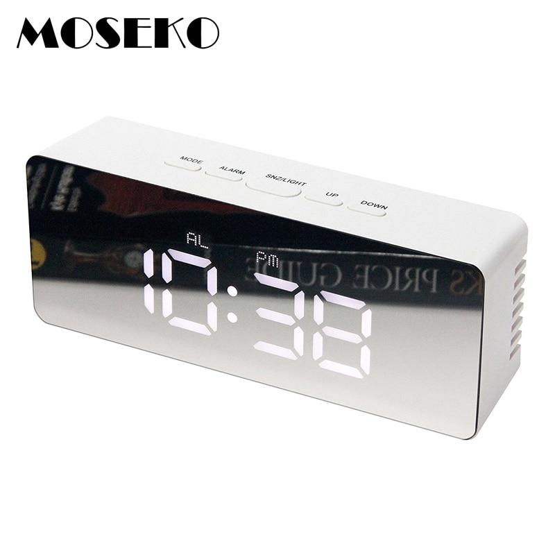 MOSEKO LED Alarm Clock, Make-Up Mirror & Night Light Table Clock with Digital Thermometer,Travel Desktop Snooze Desk Clock Alarm