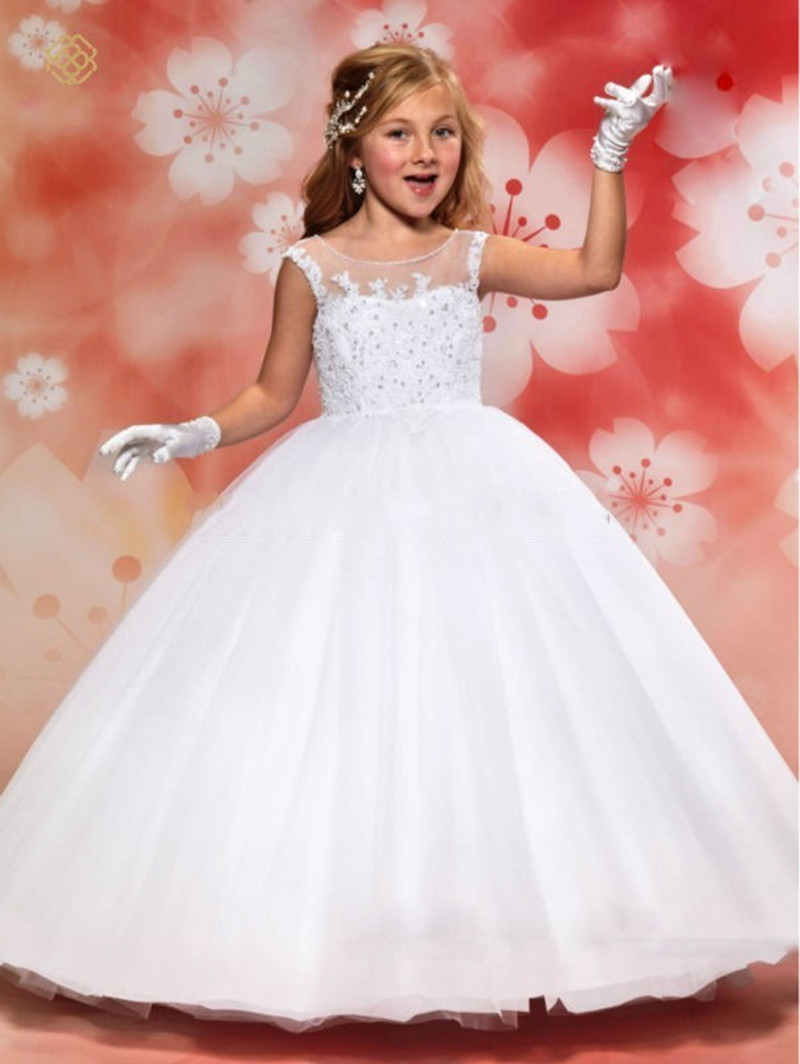 White Lace Flower Girl Dresses Ball Gown Floor Length First