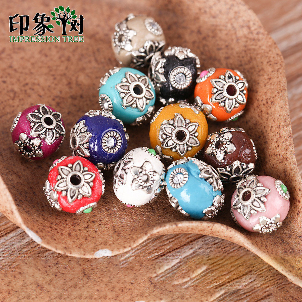 Unique Handmade Indonesia Clay Beads w// Coral Turquoise Round Antique Craft 10mm