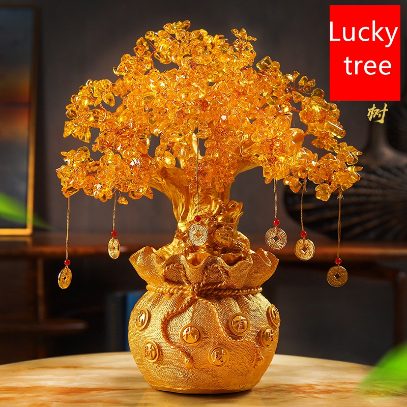 4 Size Resin Citrine Feng Shui Money Tree Lucky Tree Home Decoration Ornaments Festival Holiday Gifts Bring Wealth