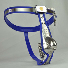 Blue silicone stainless steel male chastity device cock cage arc belts men chastity belt panties with