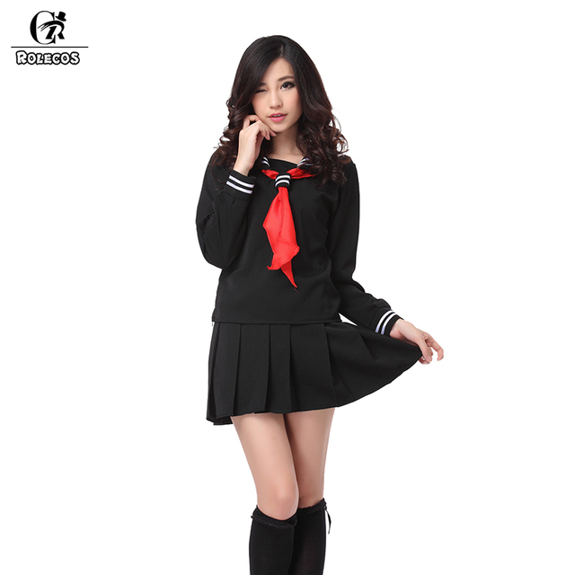 ROLECOS Brand New Anime Noir Enfer Fille Cosplay Costumes Marin Japonais  School Girl Uniformes Enma Ai 69b9346c5f30
